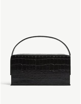 L'Afshar Ida croc-embossed medium leather top handle bag