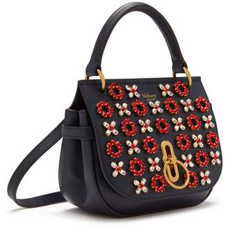 Mulberry Small Amberley Satchel Midnight Geo Floral with Dots Printed Leather