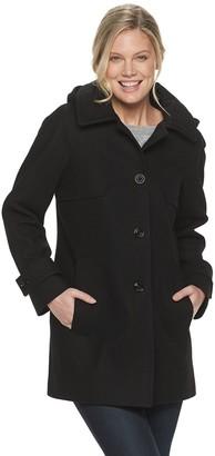 London Fog Women's TOWER By Hooded Wool-Blend Coat