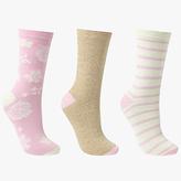 John Lewis Flower Spot and Stripe Ankle Socks, Pack of 3, Multi