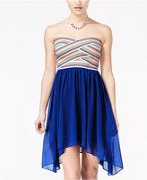 B. Darlin Juniors' Strapless Asymmetrical-Hem Fit & Flare Dress