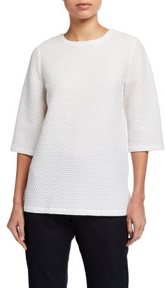 Eileen Fisher Honeycomb Textured Elbow-Sleeve Boxy Top