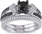 MODERN BRIDE Midnight Black Diamond 1 1/8 CT. T.W. White and Color-Enhanced Black Diamond Sterling Silver Bridal Set