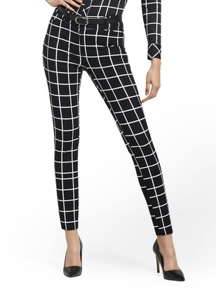 New York & Co. Petite Audrey High-Waisted Ankle Pant - Grid-Print