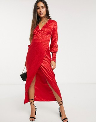 Liquorish wrap front maxi dress in red leopard jaquard