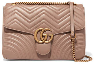 Gucci Gg Marmont Large Quilted Leather Shoulder Bag - Beige