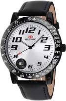 Seapro Mens Raceway Silver Dial Black Leather Strap Watch