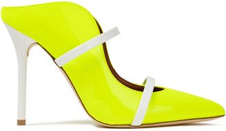 Malone Souliers Maureen Patent-trimmed Neon Leather Mules