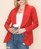 Jj Perfection JJ Perfection Women's Non-Denim Casual Jackets RUST - Rust Cascade Lapel Knit Blazer - Women