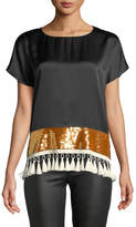 Sachin + Babi Rustem Silk Short-Sleeve Sequin Tassel Top