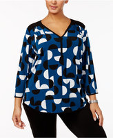 Alfani Plus Size V-Neck Printed Top, Created for Macy's