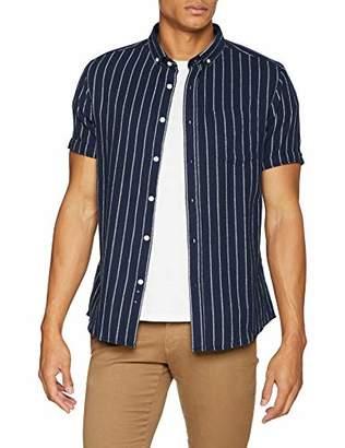 Jacamo Men's Stripe S/S Shirt REG Regular Fit Striped Classic Short Sleeve Casual Shirt,Large (Manufacturer Size:L)