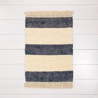 Hearth & Hand with Magnolia Jute Stripe Rug with Fringe Navy - Hearth & HandTM with Magnolia