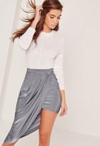 Missguided Slinky Asymmetric Midi Skirt Blue