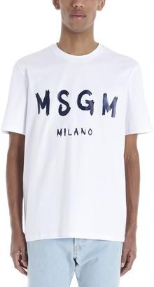 MSGM Logo Print Crewneck T-Shirt