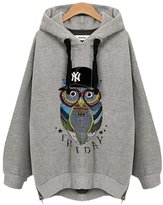 William&Lisa Womens Fashion Plus size Owl pattern Side cut Loose Active Hoodie