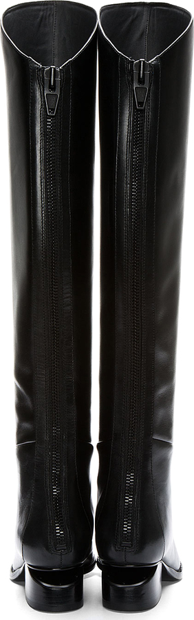Alexander Wang Black Leather Cut-Out Heel Sigrid Boots