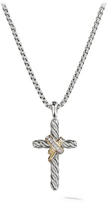 David Yurman Cable Collectibles X Crossover Cross With Diamonds & 14K Yellow Gold On Chain