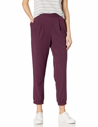 Daily Ritual Women's Standard Fluid Stretch Woven Twill Jogger Pant with Ribbed Cuff