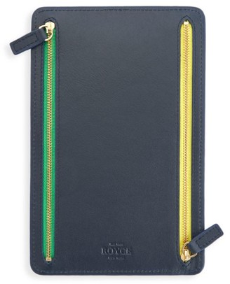 Royce New York RFID-Blocking 4-Zip Leather Travel Organizer