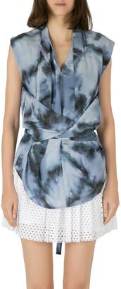IRO Grey Abstract Printed Silk Orphee Wrap Top M
