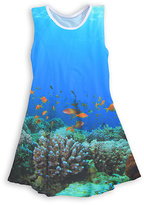 Urban Smalls Blue Coral Reef Sublimated Sleeveless Dress - Toddler & Girls