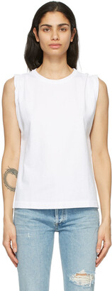 Citizens of Humanity White Jordana Rolled Sleeve Tank Top