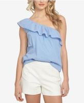 1 STATE 1.STATE Pinstripe One-Shoulder Flounce Top