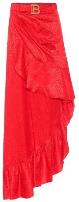 Balmain Leopard-jacquard silk maxi skirt