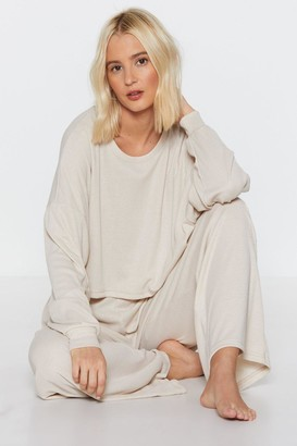 Nasty Gal Womens Chill Vibes Ribbed Lounge Sweatshirt - Beige - 10