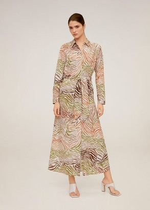 MANGO Printed shirt dress ecru - 8 - Women