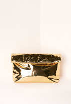 Missguided High Shine Roll Top Clutch Bag Gold
