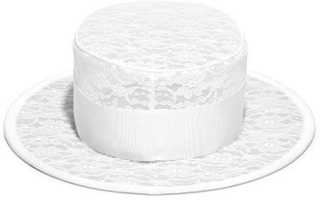 Stephen Jones Floral Lace Boater Hat - Ivory