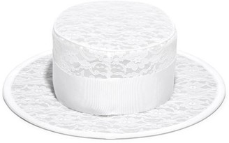 Stephen Jones Floral Lace Boater Hat - Ivory
