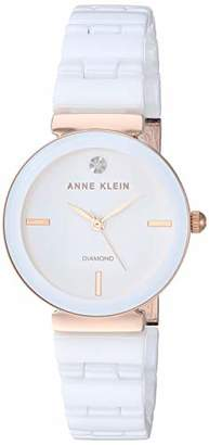 Anne Klein Women's Genuine Diamond Dial Rose Gold-Tone and White Ceramic Bracelet Watch