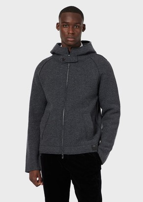 Emporio Armani Boiled Wool Blouson With Hood And Zip