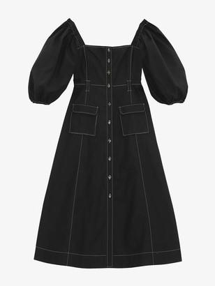 Ganni Cotton Poplin Puff Sleeve Dress Black - 36