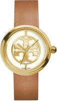 Tory Burch Women's Swiss Reva Light Brown Leather Strap Watch 36mm TRB4020