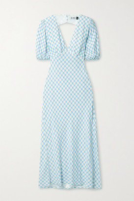 Rixo Steph Tie-back Gingham Crepe De Chine Midi Dress - Sky blue
