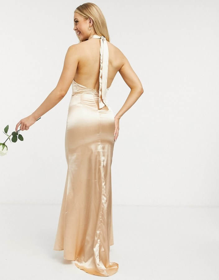 Thumbnail for your product : TFNC Bridesmaid satin halterneck fishtail maxi dress in champagne