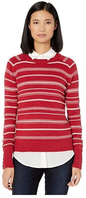 Pendleton Textured Stripe Sweater (Red/Antique White) Women's Clothing