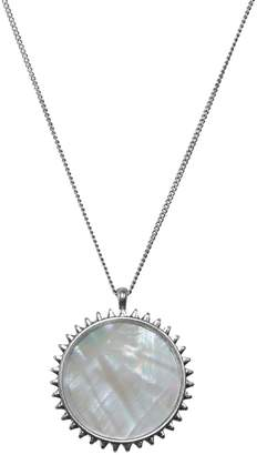 Lucky Brand Malibu Glamping Silvertone, Mother-Of-Pearl Crystal Pendant Necklace