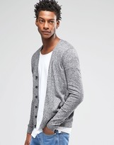 Asos Cardigan In Black And White Twist Cotton