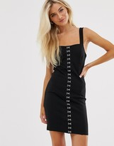 New Look hook and eye bodycon dress in black