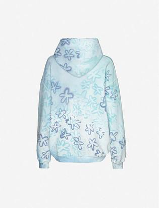 Collina Strada Rhinestone-applique floral-print cotton-blend hoody