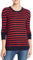 Aqua Cashmere High/Low Stripe Cashmere Tunic Sweater