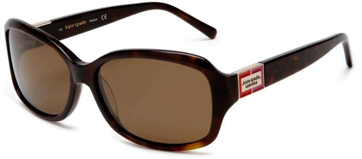 Kate Spade new york Women's Annika Sunglasses,Black and Silver Spark Frame/Gray Lens