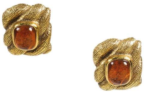Chanel Gold Tone Metal with Braided Gripoix Stone Earrings