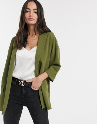Asos Design DESIGN easy relaxed blazer in textured jersey-Green