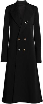 Bottega Veneta Double Breasted Wool A-Line Coat